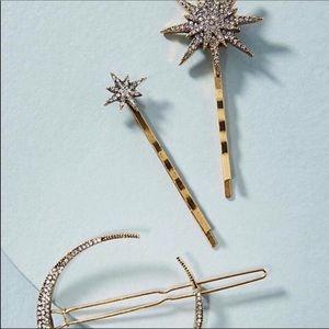 NWOT Anthropologie Crystal Star Hair Pin Set of 3
